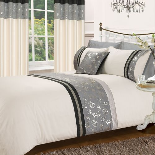 BLACK & GREY COLOUR STYLISH MATALLIC FLORAL DIAMANTE DUVET COVER LUXURY BEAUTIFUL GLAMOUR BEDDING